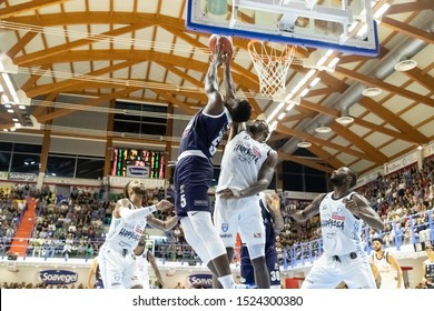 Brindisi, Italy, October 05 2019 sotto canestro at bounce a. abass , germani basket brescia, and t. stone , happy casa brindisi,  during Happy Casa Brindisi Vs Germani Basket Brescia  Italian Basketb