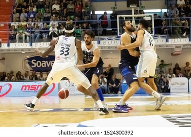 Brindisi, Italy, October 05 2019 doppio contrasto with l. vitali , germani basket brescia with ball fronteggiato from t. stone , happy casa brindisi, and a. zerini , germani basket brescia, che prote