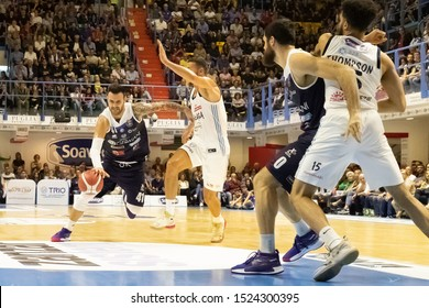 Brindisi, Italy, October 05 2019 palleggio per b. sacchetti , germani basket brescia, thwarted from  r. gaspardo , happy casa brindisi,  during Happy Casa Brindisi Vs Germani Basket Brescia  Italian