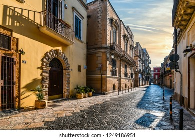 Brindisi, Italy - September 22 2018: Late afternoon in a residential section of the historic center of Brindisi Italy, in the Puglia region.