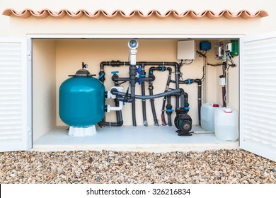 Brine, Salt water, swimming pool filter, valves and pumps in a purpose built hut.