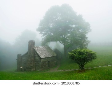 The Brinegar Cabin Covered in Fog Just Off the Blue Ridge Parkway, North Carolina