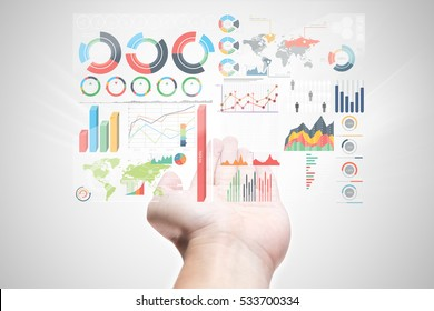 bring business marketing information in your hand . modern exclusive management chart infographic display on over in manager male open palm on white background - Shutterstock ID 533700334
