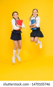 Bring child school few days prior play playground and get comfortable. Cheerful school girls. Back to school. Point out positive aspects starting school create positive anticipation first day class.
