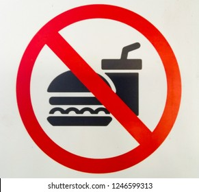 Bringing food and beverage is forbiden from the outside sign on white background.