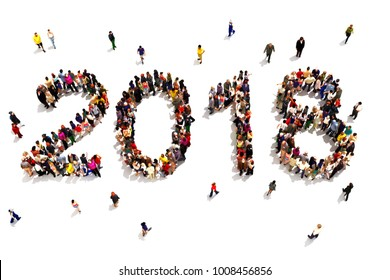 Bringing in the new year. Large group of people forming the shape of 2018 celebrating a new year concept on a white background. 3d rendering