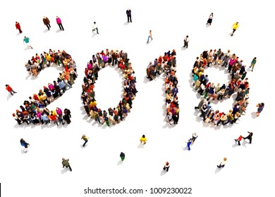 Bringing in the new year. Large group of people forming the shape of 2019 celebrating a new year concept on a white background. 3d rendering