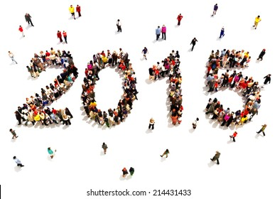 Bringing in the new year. Large group of people in the shape of 2015 celebrating a new year concept on a white background. Vertical version also available.