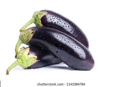 Brinjals in water drops on a white background isolated closeup