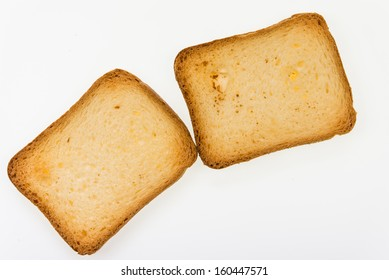 Brioche toasts - closeup isolated on white