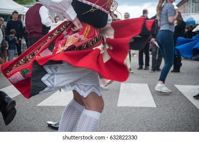 BRISACH - France - 1 May 2017 - traditional Portuguese dancers at the lily of the valley party