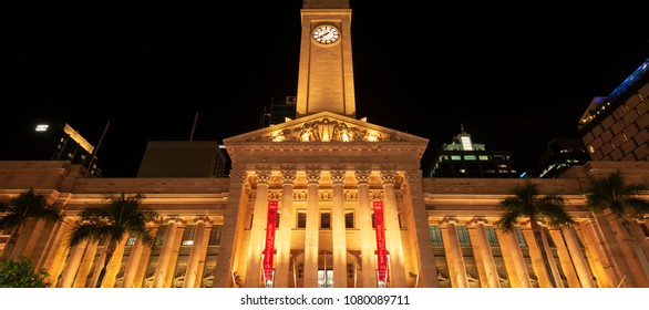 BRISBANE, AUS - APRIL 28th 2018: Brisbane City Hall at night. The building is used for royal receptions, pageants, orchestral concerts, civic greetings. April 28th 2018.