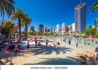 BRISBANE, AUS - DEC 29 2016: Streets Beach in South Bank Parkland. It's inner-city man-made beach next to city center.