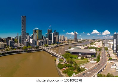BRISBANE, AUS - Mar 19 2019: Brisbane and Southbank aerial view with William jolly and Kurilpa bridges in the foreground, Queensland, Australia