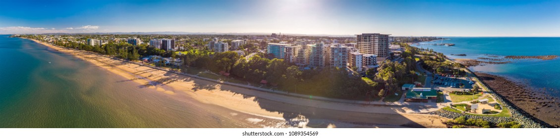 BRISBANE, AUS - MAY 13 2018: Panoramic aerial image of Sutton Beach area, taken by the drone. Redcliffe is a residential suburb of the Brisbane within Moreton Bay Region.