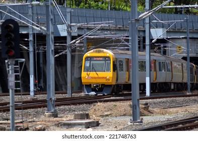 BRISBANE, AUS - SEP 26 2014: Queensland Rail train.Queensland Rail have 48.5 million customer journeys on the City network (south-east Queensland) per year