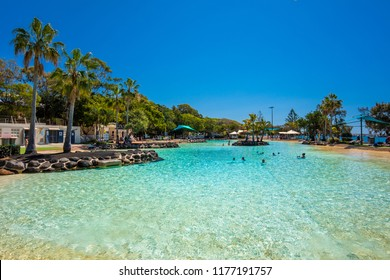 Brisbane, AUS - Sept 09, 2018: Settlement Cove Lagoon on the beach on sunny day, Redcliffe, Brisbane, Australia