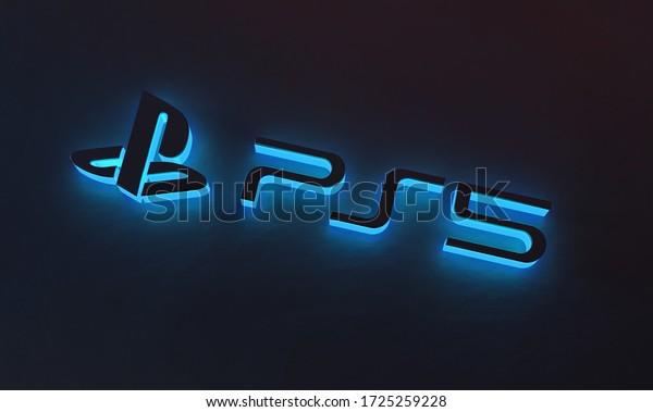 Brisbane, Australia - 05/08/2020 : Playstation 5 Blue Glow on Dark Background