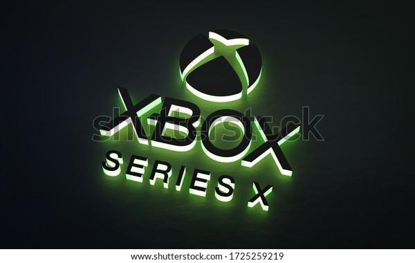 Brisbane, Australia - 05/08/2020 : Xbox Series X Green Glow Logo on Dark Background