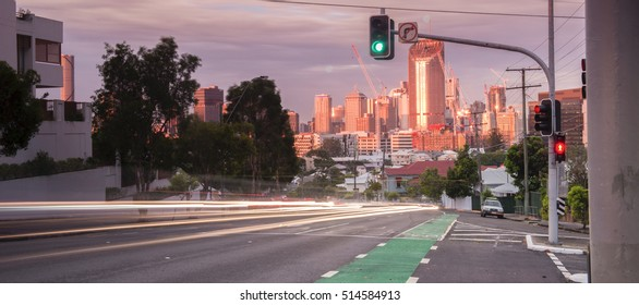 Brisbane, Australia - 12th November, 2016: View in the late afternoon of Brisbane City from Gladstone road, West End, Brisbane on the 12th November 2016.