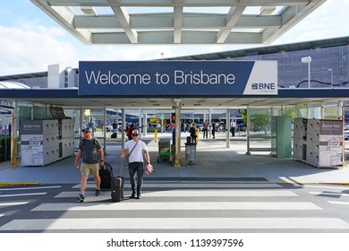 BRISBANE, AUSTRALIA -20 JUL 2018- View of the Brisbane Airport (BNE) in Queensland, Australia. It is a hub for Virgin Australia,  Qantas and its low cost subsidiary Jetstar.