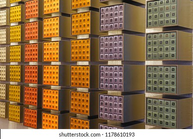 BRISBANE, AUSTRALIA -21 JUL 2018- View of a store display of colorful Nespresso single dose coffee capsules.