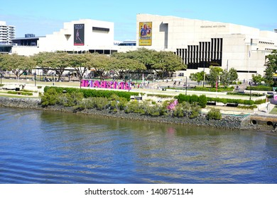 BRISBANE, AUSTRALIA -23 JUL 2018- View of the Queensland Performing Arts Centre (QPAC) on the waterfront in South Bank, Brisbane, Queensland, Australia.