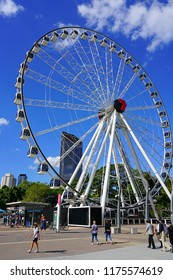 BRISBANE, AUSTRALIA -25 JUL 2018- View of the Wheel of Brisbane, a Ferris Wheel installed near the South Bank Parklands, City of Brisbane, Queensland, Australia.