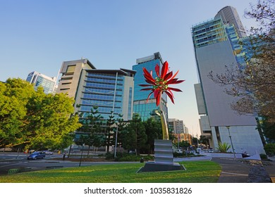 BRISBANE, AUSTRALIA -27 JUL 2017- View of the Roma Street Parkland, a public park located in the Central Business District in the City of Brisbane, Queensland, Australia.
