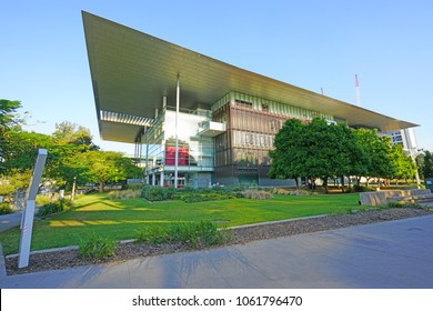 BRISBANE, AUSTRALIA -27 JUL 2017- View of the Queensland Art Gallery and Gallery of Modern Art (QAGOMA), an art museum located in the City of Brisbane, Queensland, Australia.