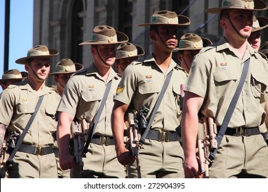 BRISBANE, AUSTRALIA - APRIL 25 : 1st Battalion march  along the route during Anzac day centenary commemorations April 25, 2015 in Brisbane, Australia