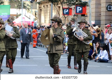 BRISBANE, AUSTRALIA - APRIL 25, 2017: Army band members dressed in World War 2 uniforms while performing in the ANZAC parade.