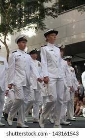 BRISBANE, AUSTRALIA - APRIL 25 : Naval personnel  march along the route during Anzac day commemorations  April 25, 2013 in Brisbane, Australia