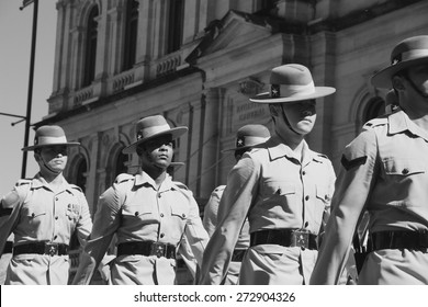 BRISBANE, AUSTRALIA - APRIL 25 : Soldiers march along the route during Anzac day centenary commemorations April 25, 2015 in Brisbane, Australia