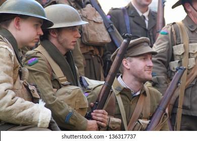 BRISBANE, AUSTRALIA - APRIL 25 : Unidentified World War 2 reenactors pose during Anzac day commemorations  April 25, 2013 in Brisbane, Australia