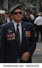 BRISBANE, AUSTRALIA - APRIL 25 : Veterans march along the route during Anzac day commemorations  April 25, 2013 in Brisbane, Australia
