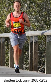 BRISBANE, AUSTRALIA - AUGUST 03 Competitor Nicholas Turner in Brisbane Marathon  August 03, 2014 in Brisbane, Australia
