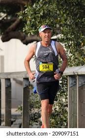 BRISBANE, AUSTRALIA - AUGUST 03 Competitor Stuart Giles in Brisbane Marathon  August 03, 2014 in Brisbane, Australia
