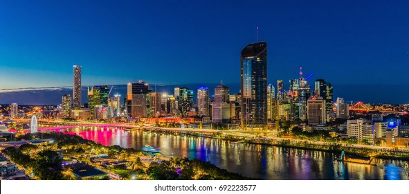 BRISBANE, AUSTRALIA - August 05 2017: Night time areal image of Brisbane CBD and South Bank. Brisbane is the capital of QLD and the third largest city in Australia