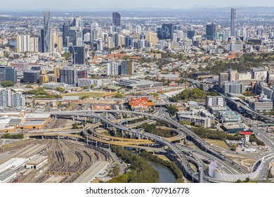 BRISBANE, AUSTRALIA - AUGUST 1 2017: Aerial view close up of Brisbane's Inner City Bypass and cityscape, view over Bowen Hills area from the north looking towards the CBD