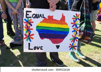 BRISBANE, AUSTRALIA - AUGUST 8 2015: Pro marriage equality in Australia sign at Marriage Equality Rally