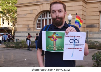 BRISBANE, AUSTRALIA - AUGUST 8 2015:Anti-conservative church christians with sign at Marriage Equality Rally