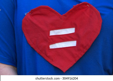 BRISBANE, AUSTRALIA - AUGUST 8 2015:Equal love heart shirt at Marriage Equality Rally