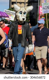 BRISBANE, AUSTRALIA - AUGUST 8 2015:Street marchers in Furries costume at Marriage Equality Rally