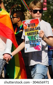 BRISBANE, AUSTRALIA - AUGUST 8 2015:Street marchers at Marriage Equality Rally