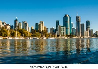 Brisbane, Australia : Beautiful view of Brisbane Central Business District Cityscape in the Brisbane River Side (06-2007)