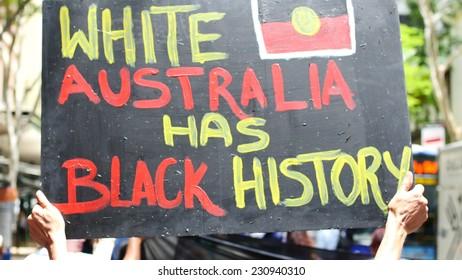 BRISBANE, AUSTRALIA - CIRCA NOVEMBER 2014: Brisbane played host to the G20 Summit. The Brisbane Blacks, demonstrated for Aboriginal rights and the stolen children.
