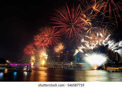 BRISBANE, AUSTRALIA, DEC 31 2016: New Year fireworks over night sky at Southbank, Brisbane, Australia