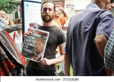 BRISBANE, AUSTRALIA - FEBRUARY 05 : Anti right wing newspaper at protest in support of churches offering sanctuary to refugees