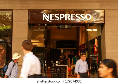 BRISBANE, AUSTRALIA - FEBRUARY 19, 2014: A Nespresso outlet. With over 300 boutiques worldwide.